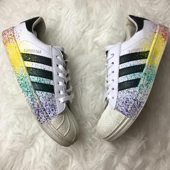 adidas superstar rainbow paint splatter white black